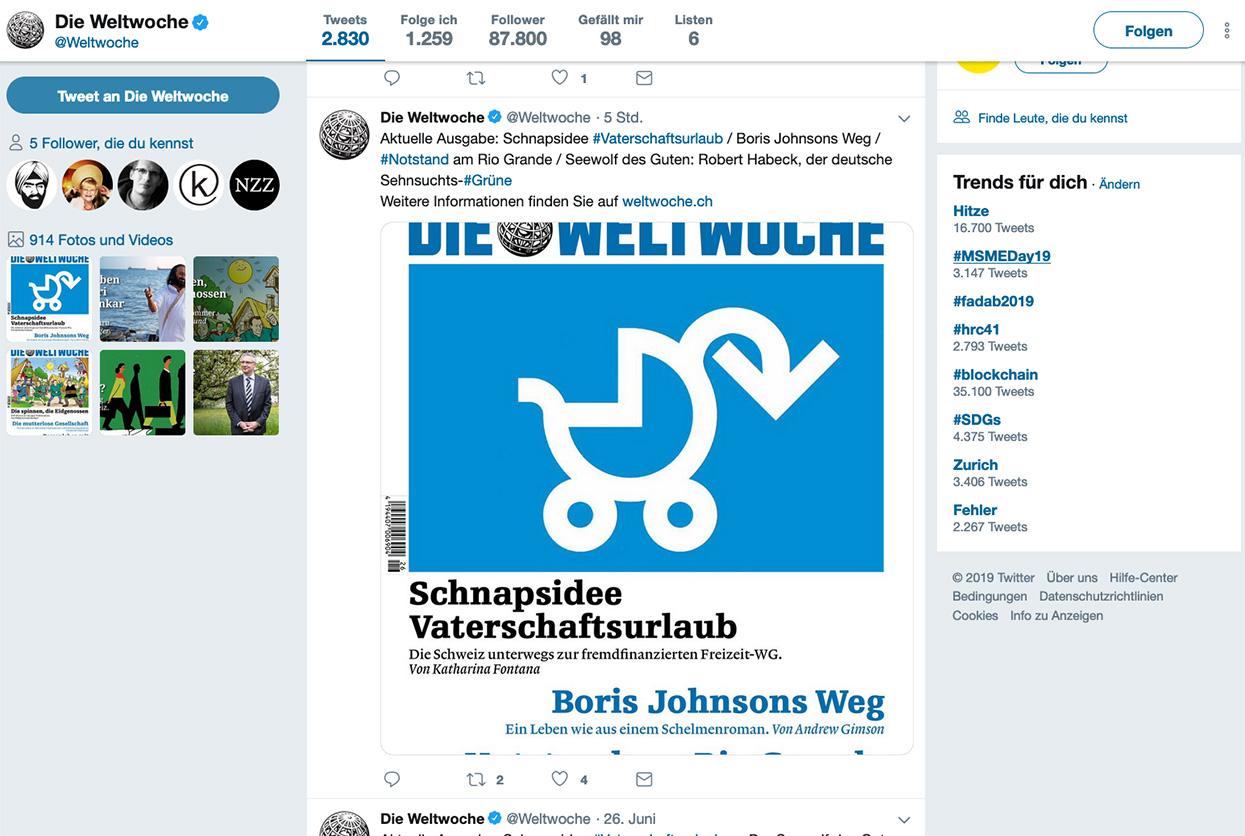 Screenshot von Twitter mit Weltwochecover und zur Parodie umgeformtem Logo.